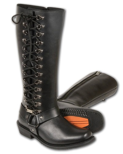 "Ladies Black Leather 14"" Tall High Rise Boots, Square Toe, Full Lacing"