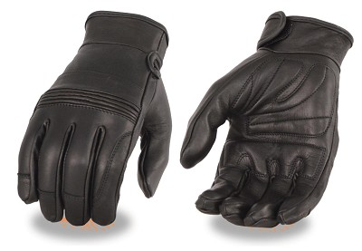 Mens Premium Leather Riding Gloves, Gel Palm & Flex Knuckles