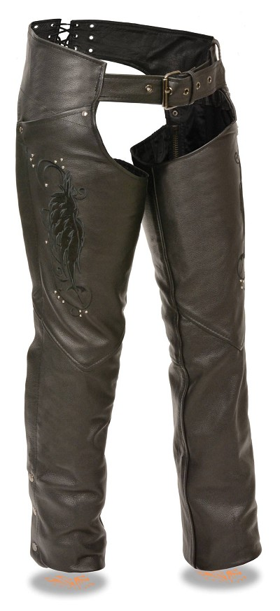 Ladies Black Leather Chaps w Wing Embroidery and Rivets