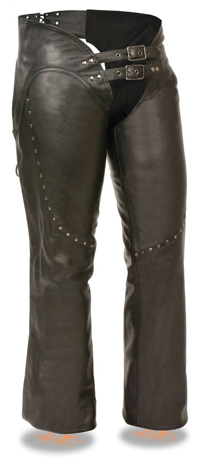 Ladies Black Leather Low Rise Double Buckle Chaps w Rivet Detailing
