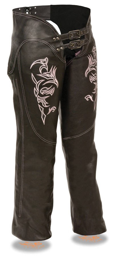 Ladies Black Leather Chaps w Pink Tribal Embroidery