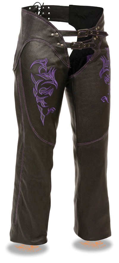 Ladies Black Leather Chaps w Purple Tribal Embroidery