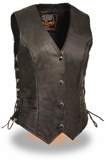 Ladies Black Snap Front Leather Vest w Thin Braided Seam, Side Lace