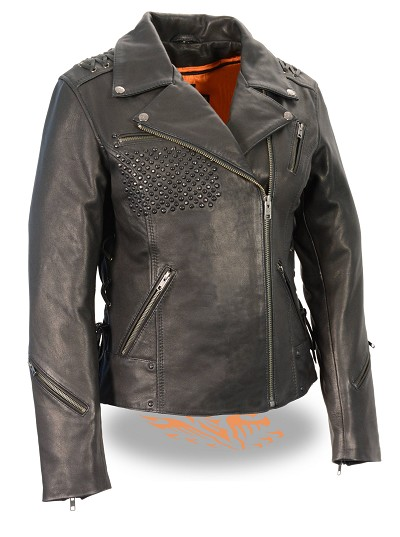 Ladies Black Leather Light Weight Biker Jacket Lace to Lace, Black Beading