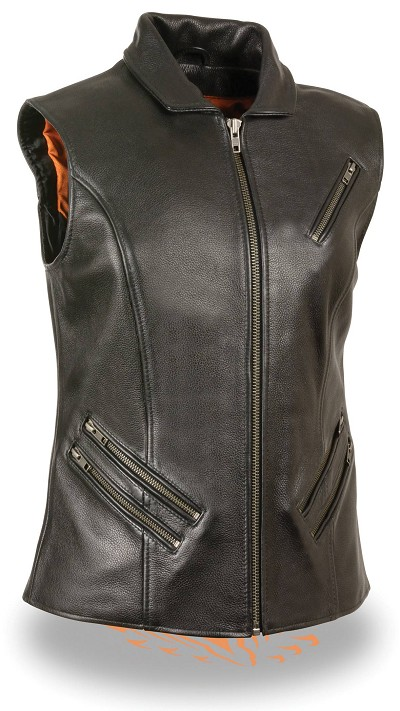 Ladies Black Leather Extra Long Zipper Front Vest w Collar