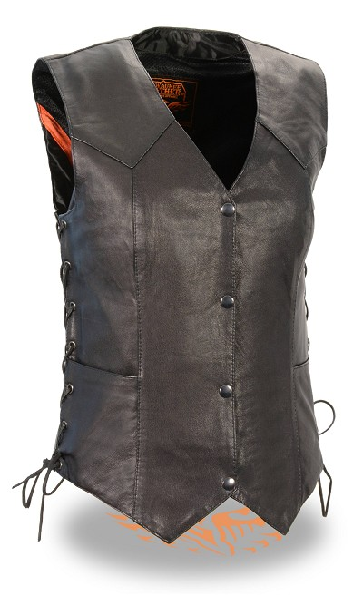 Ladies Black Naked Goatskin Leather Biker Vest, Light Weight, Side Laces
