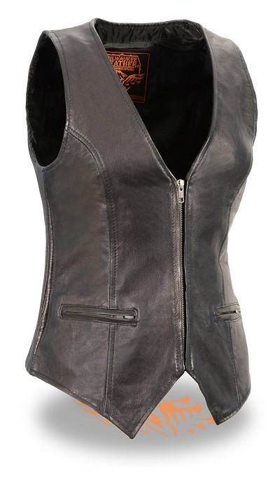 Ladies Black Naked Light Weight Leather Zipper Front Vest, Side Stretch Panels