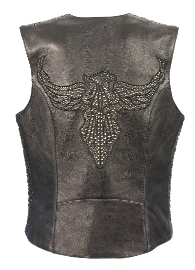 Ladies Black Naked Leather Snap Front Vest w Phoenix Studding & Embroidery