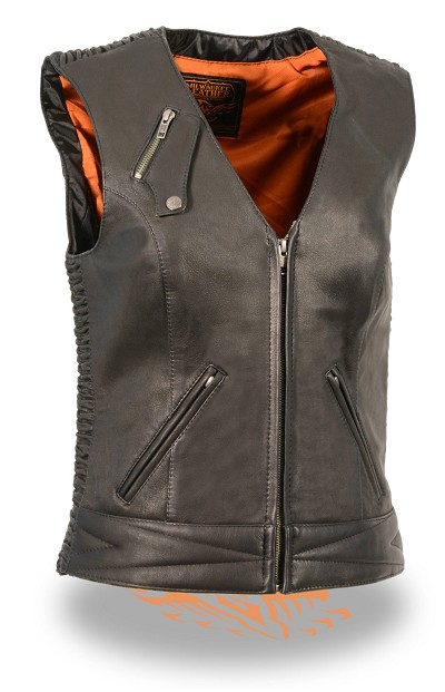 Ladies Black Light Weight Leather Zipper Front Vest w Crinkle Detailing