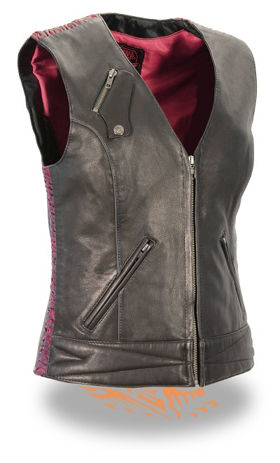 Ladies Black Light Weight Leather Zipper Front Vest, Hot Pink Crinkle Detailing