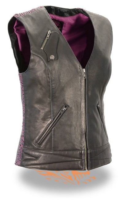Ladies Black Light Weight Leather Zipper Front Vest, Purple Crinkle Detailing
