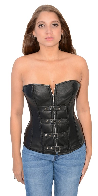 Ladies Black Lambskin Leather Zipper 7 Buckle Front Corset