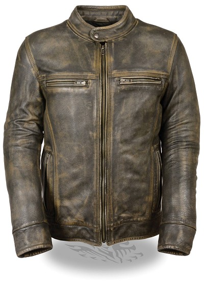 Mens Distressed Brown Leather Scooter Jacket with Venting