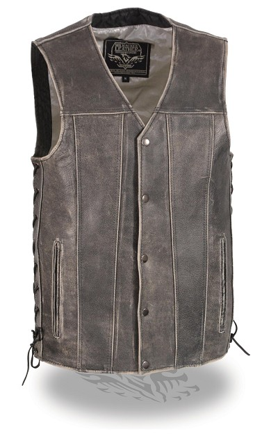 Mens Distressed Grey Leather 5 Snap Biker Motorcycle Vest w Side Lace