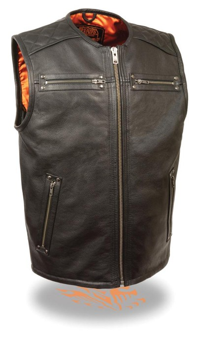 Mens Black Longer Leather Vest Zipper Front & Hand & Chest Pockets