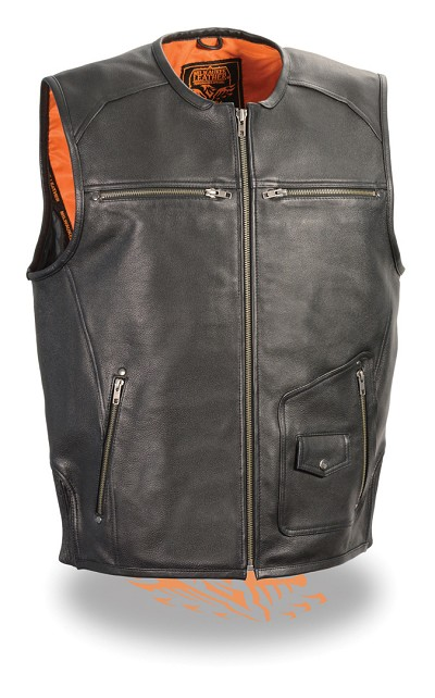 Mens Black Leather Vest Zipper Front, 5 Front Pockets, Side Stretch Panels