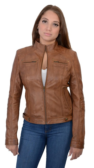 Whiskey Brown Lambskin Leather Racing Jacket w Rivets