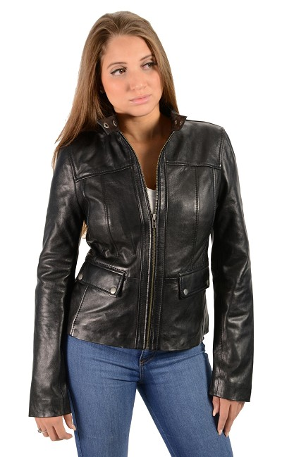 Ladies Black Lambskin Leather Jacket w Snap Collar, Snap Pockets