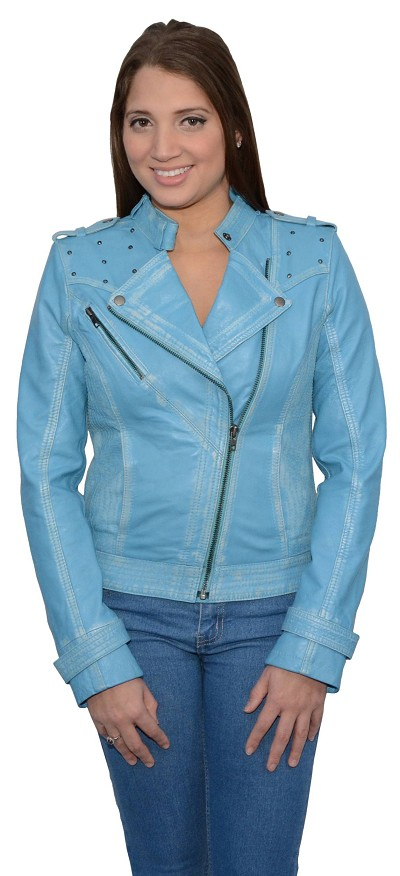 Ladies Aqua Sheepskin Leather Motorcycle Style Jacket Classic Collar, Studding