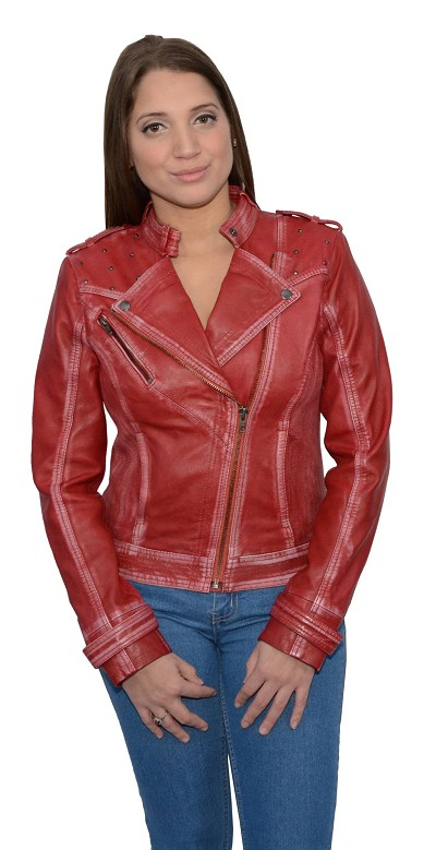 Ladies Red Sheepskin Leather Motorcycle Style Jacket Classic Collar, Studding