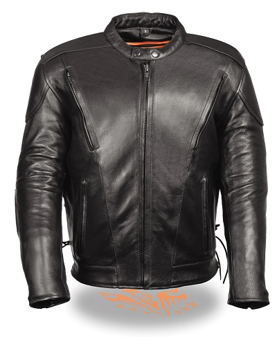 Mens Black Vented Leather Scooter Jacket, Side Laces, Padded Back
