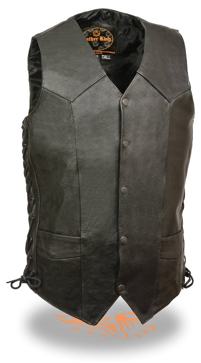 Mens Tall Classic Snap Front Black Biker Vest with Side Laces