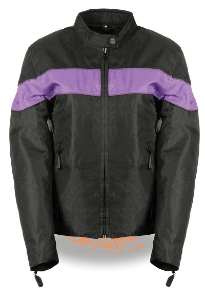 Womens Black Lightweight Nylon Vented Riding Jacket w Purple Stripe