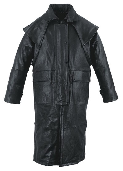 Mens Black Leather Motorcycle Duster w Removable Cape, Leg Straps