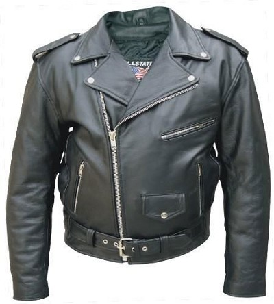 Mens Black Classic Leather Motorcycle Biker Jacket Cowhide