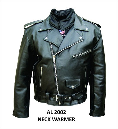 Mens Black Leather Motorcycle Jacket with Neck Warmer