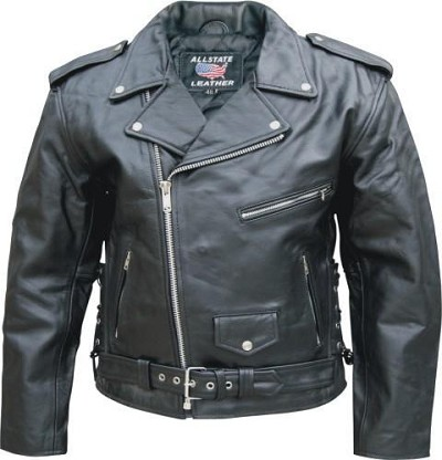 Allstate Mens Classic Black Leather Motorcycle Jacket Side Lace