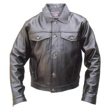 "Allstate Mens ""Denim Style"" Black Leather Motorcycle Jacket"