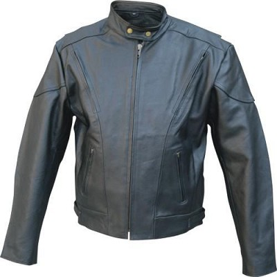 Black Leather Jacket Mens Vented Euro Collar Touring Black