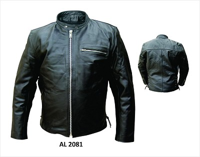 Allstate Mens Black Leather Scooter Jacket w Side Lace