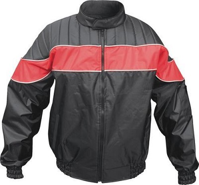 Black Nylon Water Resistant Riding Jacket with Red Reflector Stripe