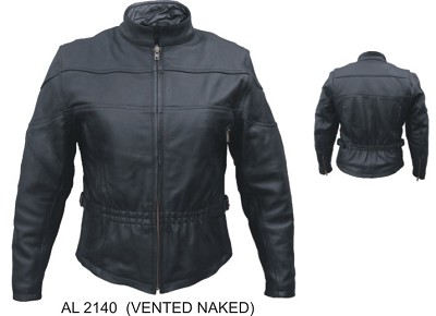 Ladies Black Leather Motorcycle Biker Jacket Vented