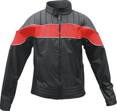 Ladies Black Nylon Motorcycle Jacket With Red Reflector Strip