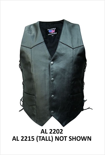 Mens Black Buffalo Leather Motorcycle Biker Vest with Side Lace