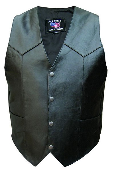 Mens Taller Basic Water Buffalo Black Leather Motorcycle Vest