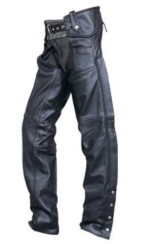 Unisex Black Leather Motorcycle Chaps w Braided Line