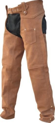 Unisex Brown Leather Lined Motorcycle Chaps