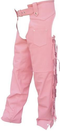 Ladies Pink Leather Hip Hugger Chaps with Fringe