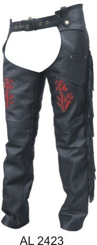 Ladies Black Leather Chaps with Red Rose and Fringe
