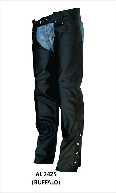 Unisex Black Lined Water Buffalo Leather Plain Motorcycle Chaps