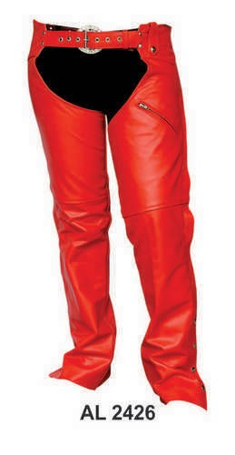 Ladies Red Leather Chaps with Zippered Pocket