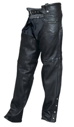 Unisex Black Naked Drum Dyed Leather Motorcycle Chaps