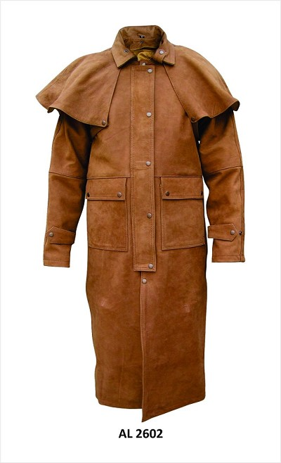 Mens Brown Leather Motorcycle Biker Duster Trench Coat Zip Out Lining