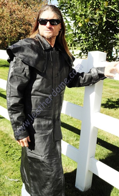 Mens Black Water Buffalo Leather Motorcycle Duster Trench Coat