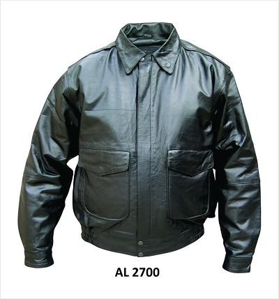 Allstate Mens Black Light Weight Leather Bomber Jacket