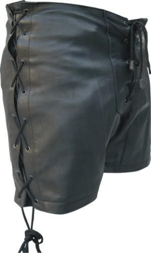 Ladies Black Lambskin Leather Shorts with Lace Sides and Front